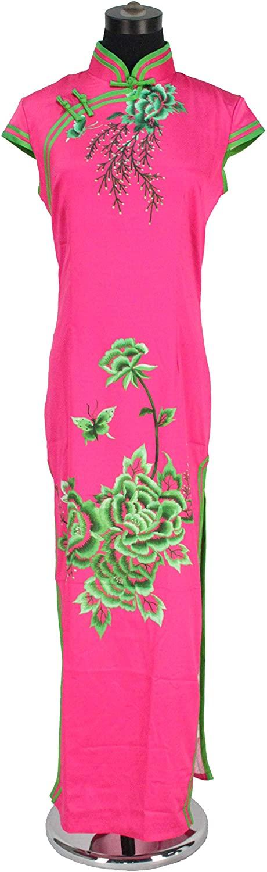 FixtureDisplays Elegant Cheongsam Qipao Long Dress Chinese Women Dress Evening Dress Rose Red 16668-NF Nopping