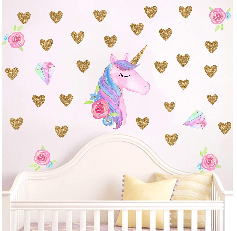 Colorful Unicorn Wall Sticker Removable Art Vinyl Unicorn Heart Stars Wall Decal Kids Bedroom Decoration Gift Decor AJ6629 (Style 2)