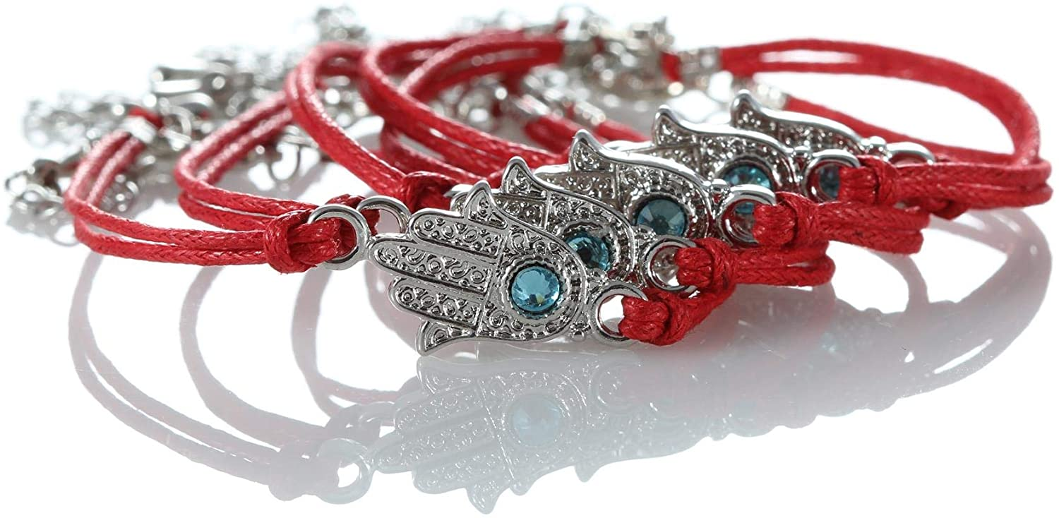 lot 5 Red Hamsa Evil Eye Bracelets String Kabbalah Good Lucky Charm Jewelry