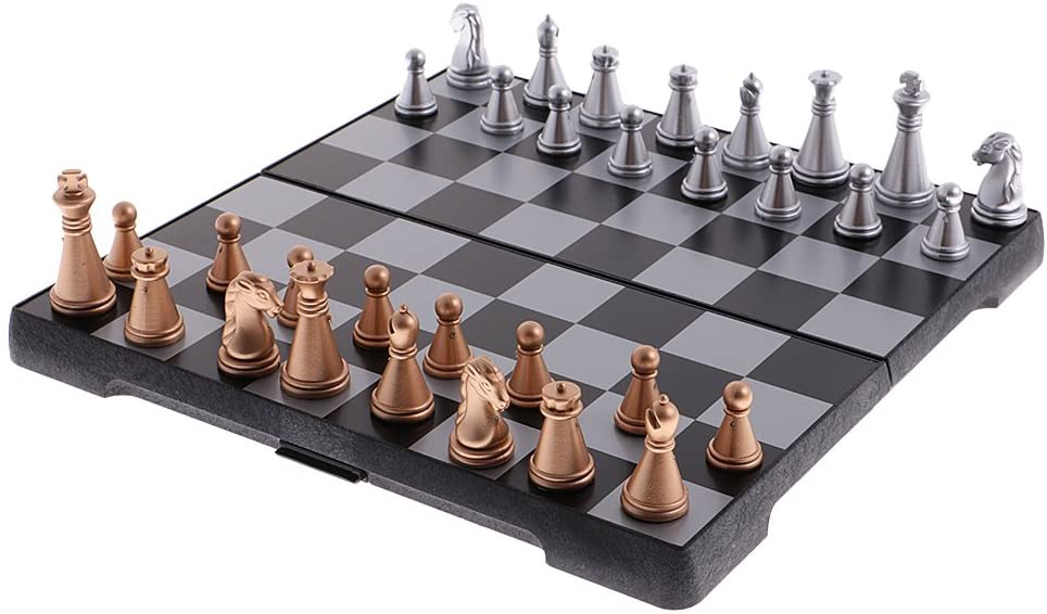 YAMEIJIA Magnetic 3 in 1 Wooden International Travel Chess Set with Folding Chess Board Educational Toys Durable Camping Entertainment