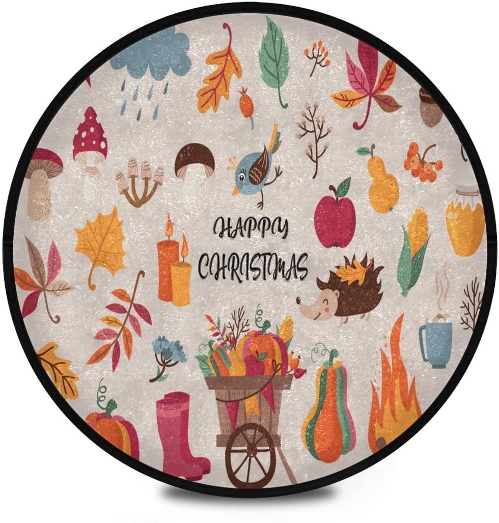 Thanksgiving Shaggy Round Mat Autumn Leaves Foods Bedroom Carpet for Kids Kitchen Room Anti-Slip Rug Room Carpets
