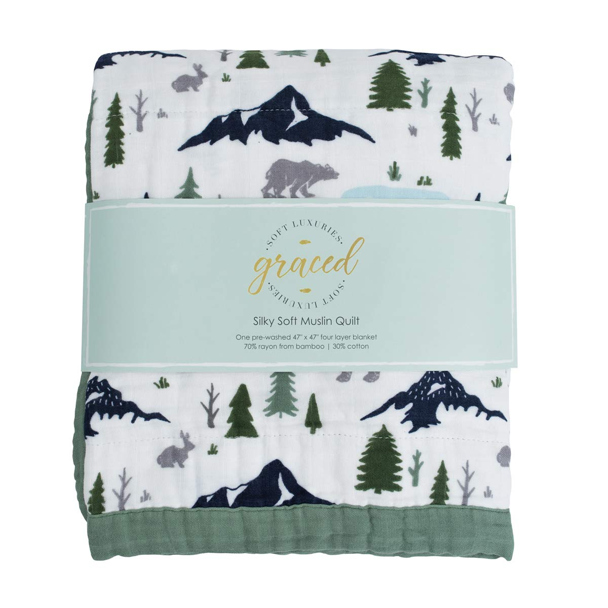 GRACED SOFT LUXURIES Softest Large 4-Layer Bamboo Muslin Quilt, 47