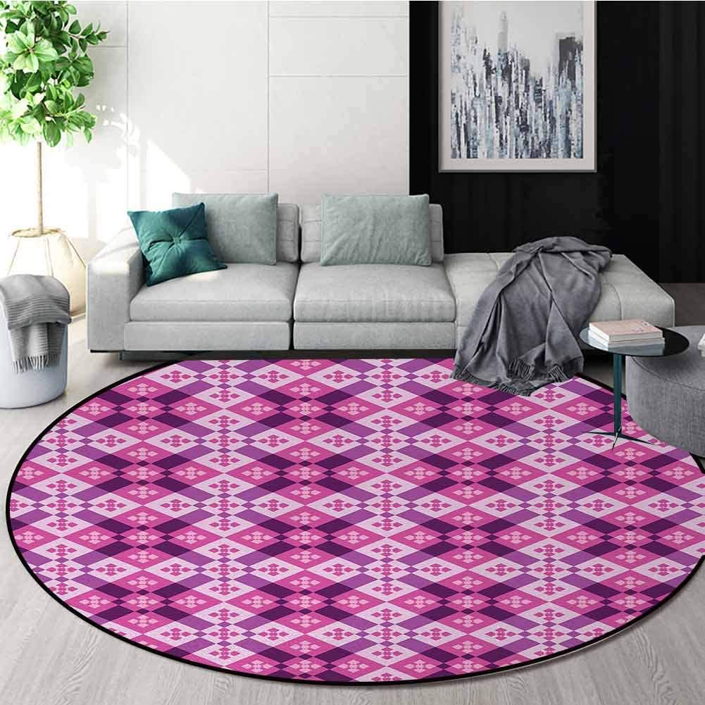 Abstract Modern Machine Washable Round Bath Mat,Geometric Tiles Square and Rectangles Floorboard Style Modern Art Non-Slip Soft Floor Mat Home Decor Diameter-71 Inch,Fuchsia Hot Pink Pale Mauve