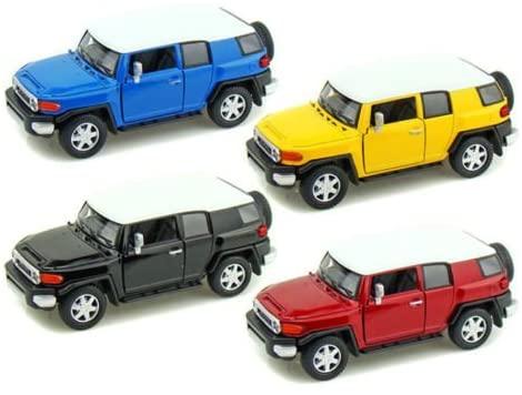 Kinsmart New 1:36 Display - (Black, Red, Blue and Yellow) Toyota FJ Cruiser Diecast Model Car Set of 4 Cars