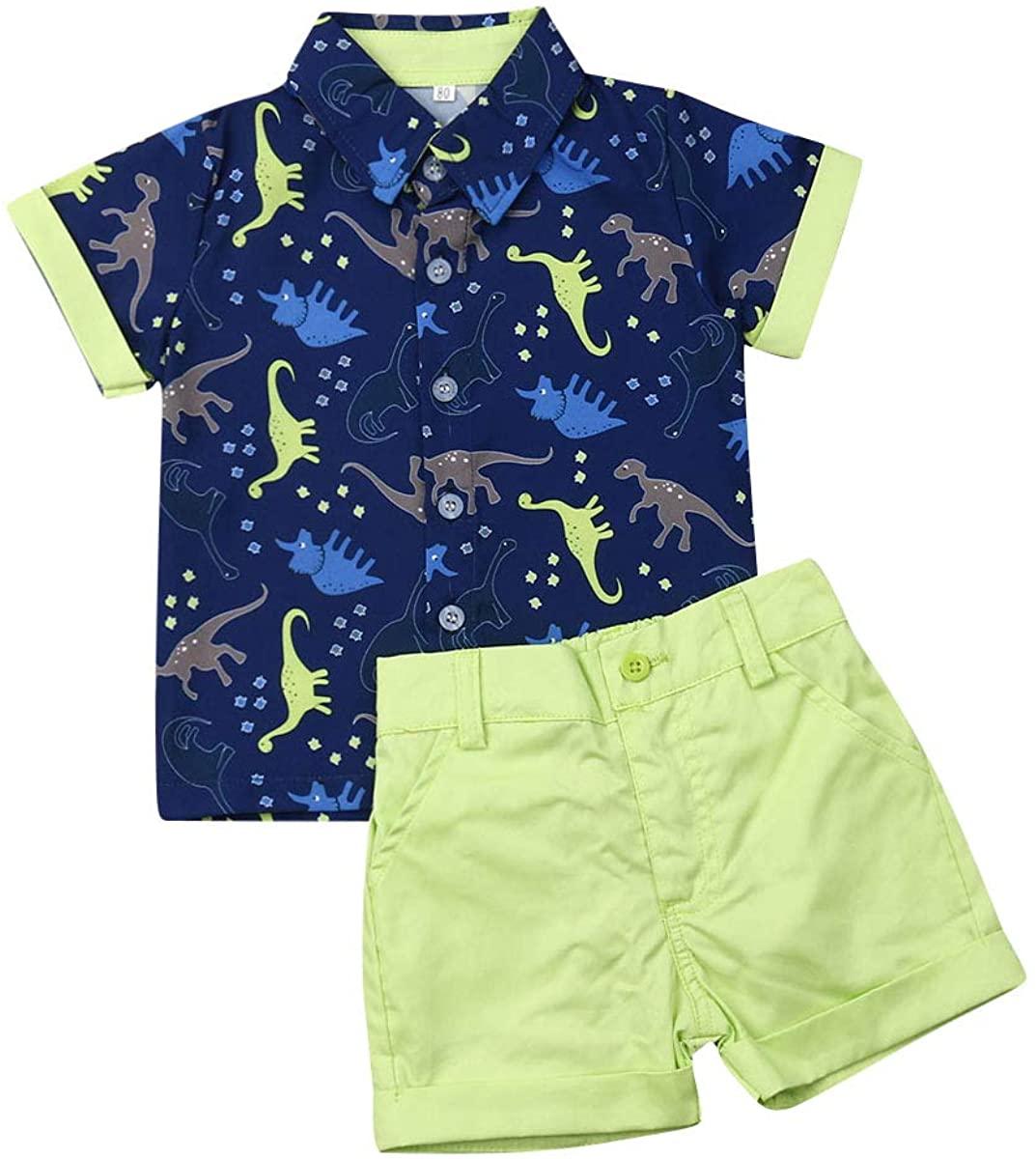 Koloyooya Baby-Boys Baby Boys Gentleman Outfits , Flamingo Print Button Down Shirt+Shorts