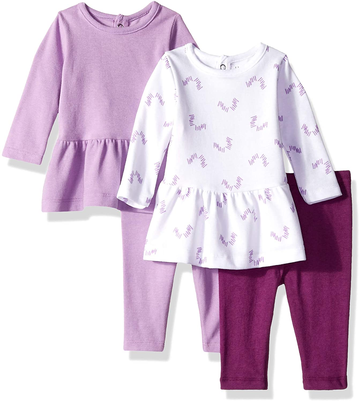 Hanes Girls Ultimate Baby Flexy Set-2 Long Sleeve Dresses with 2 Leggings