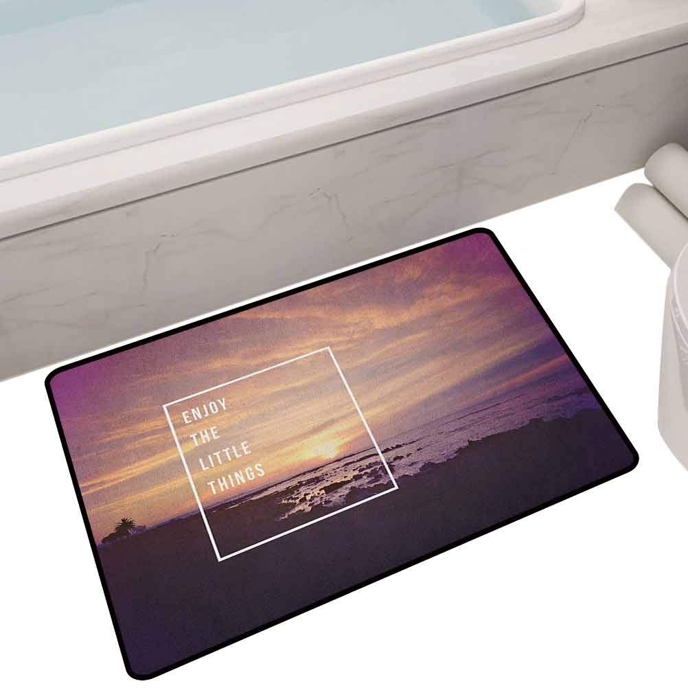 Large Floor Mats for Living Room Colorful Sunset on Beach with Tropical Landscape Hawaiian Scenic Beauty Idyllic Quote,35X24 Rectangle Kids Floor mats