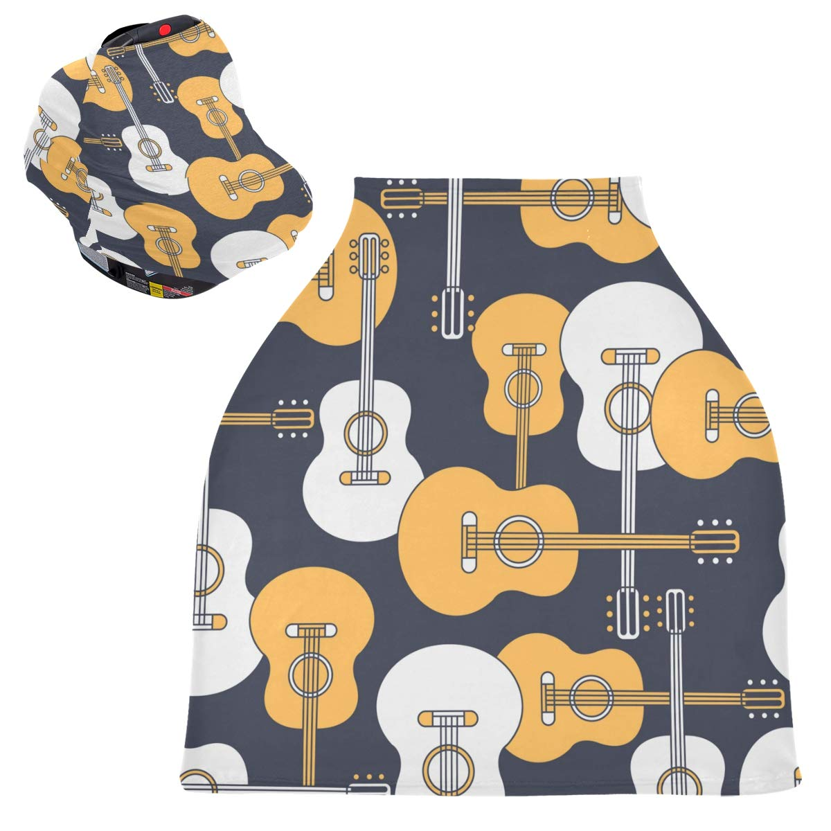 Stretchy Baby Car Seat Canopy - Musical Instruments Guitars Infant Stroller Cover Multi Use Baby Car Seat Covers Nursing Cover for Breastfeeding