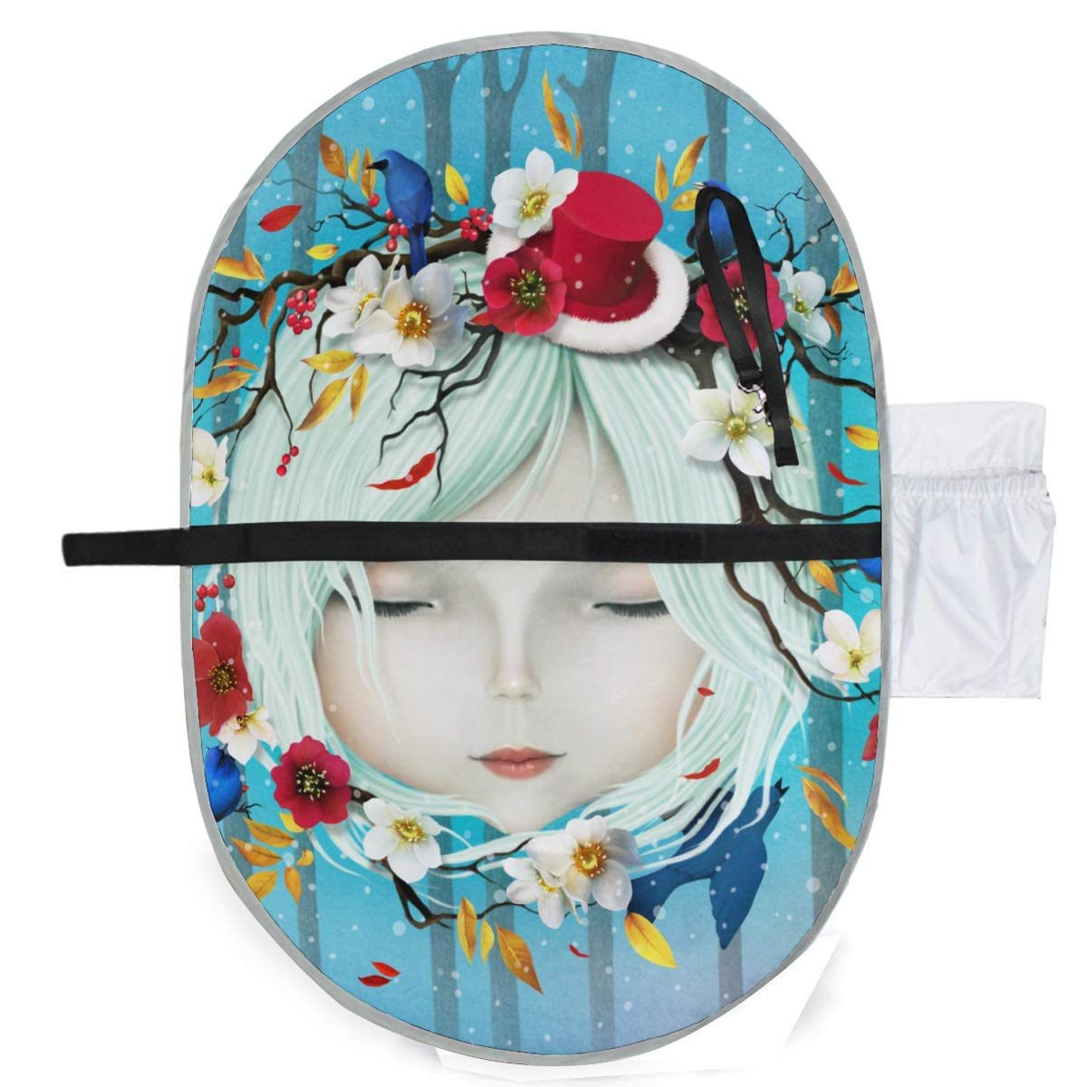 Waterproof Washable Baby Diaper Changing Pad Mat Girl Flowers Portable and Foldable Infant Large Nappy Mat 27x20 inch