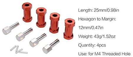 Parts & Accessories 4pcs/lot 20mm/25mm Wheel Extension Connector 12mm Wheel Hub Hex Drive Adapter for 1/10 RC Car Climbing Crawler SCX10 Wraith CC01 - (Color: 25mm Red)