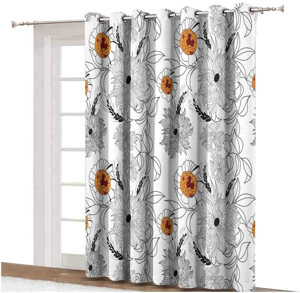 Floral Wide Blackout Curtains Simplistic Flower Petals Nature Beauty Florets Growth Illustration Thermal Backing Sliding Glass Door Drape ,Single Panel 100x108 inch,for Glass Door Orange Baby Blue Wh