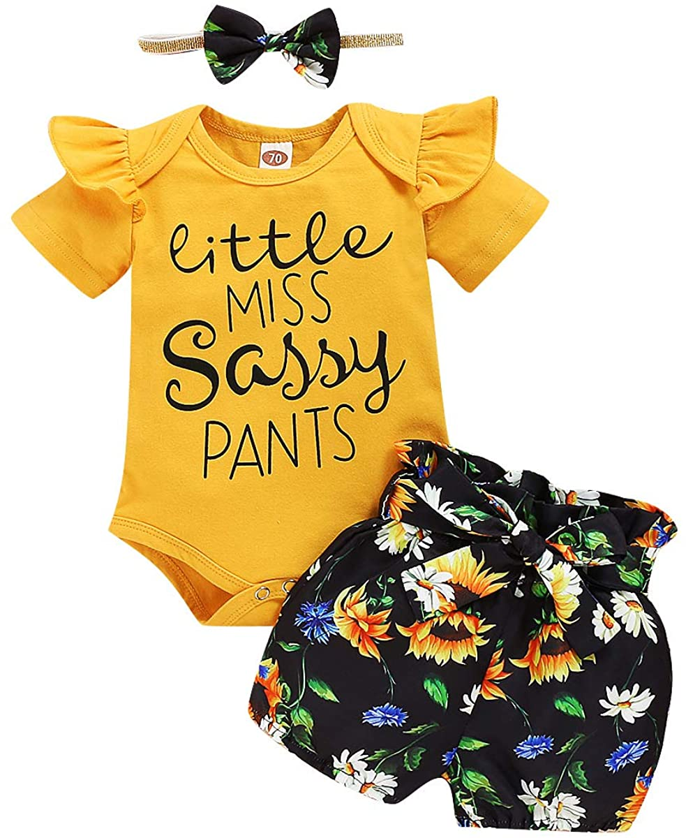 Toddler Baby Girl Little Miss Sarry Pants Outfits Ruffle Romper Sunflower Bow Headband Shorts Suit