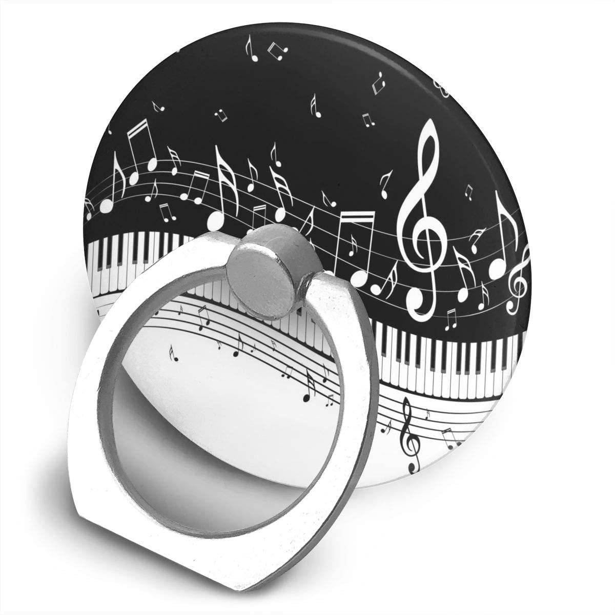 Universal Phone Ring Holder Black Music Piano Notes Adjustable 360°Rotation Round Finger Grip Loop Cell Phone Stand for Phone X/6/6s/7/8/8/10/11 Plus Smartphone Android