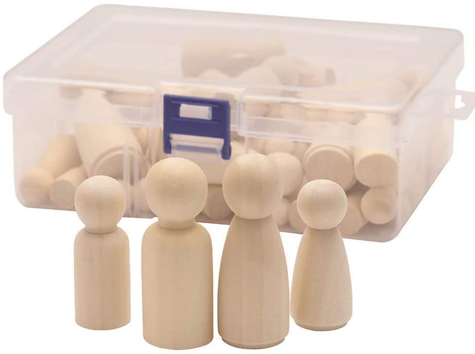 Wooden Peg Doll Unfinished Wooden People Bodies Angel Dolls for DIY Craft, 50/55pcs Mix Sizes