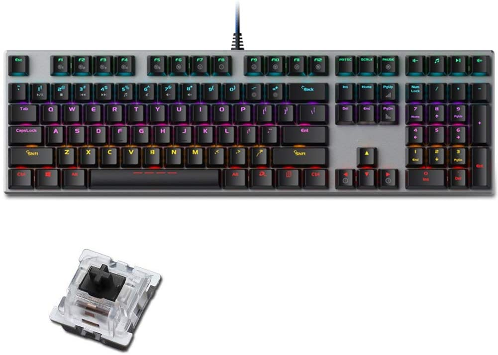 FASDGDFGS Durable Wired Black Switch Alloy Gaming Mechanical Keyboard, Full Key Without Conflict, Mixed Light - Silver Panel