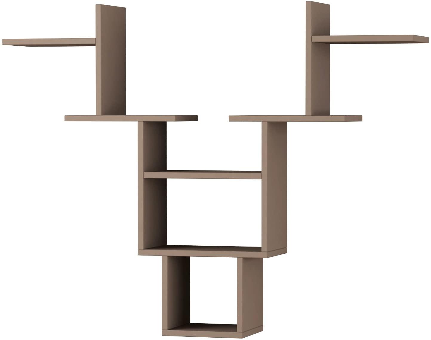 Ada Home Décor Whitetail Wall Shelf, 50'' x 39'' x 9'', Light Mocha