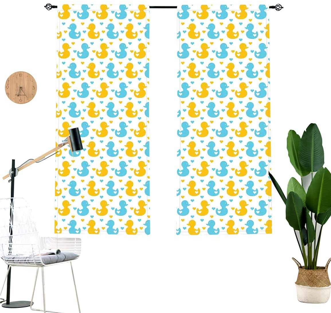Rubber Duck Sound Blocking Curtains,Baby Ducklings with Little Hearts Love Animals Nursery Room Window Treatments for Sliding Glass Doors,2 Panel Set,W42 x L36 Each Panel