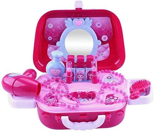 Children Girls Pretend Play Cosmetics Shoulder Bag Kids Plastic Mirror Hair Dryer Toy Set Gift