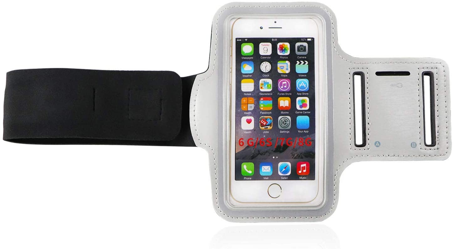 HuaZoon Waterproof Armband Cell Phone Armband Case for iPhone X, Xs, 8, 7, 6, 6S and Other Phone Models Similar with Adjustable Elastic Band & Key Holder for Running, Walking, Hiking(Grey)