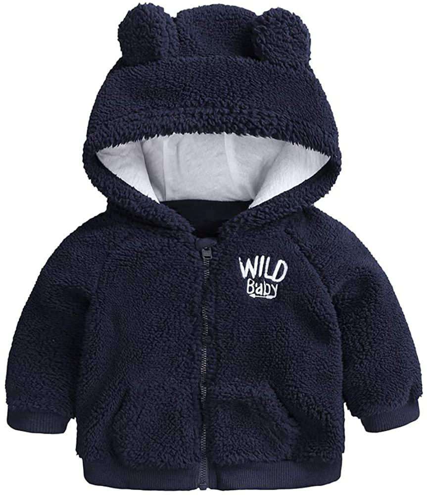 Newborn Infant Baby Boys Girls Cartoon Fleece Hooded Jacket Coat with Ears Warm Outwear Coat Zipper Up