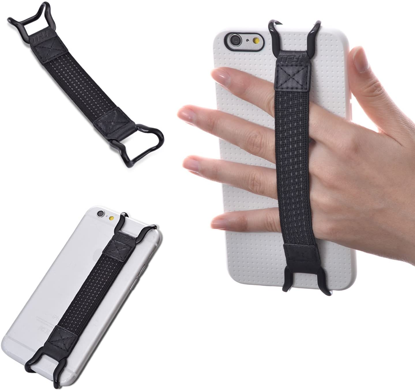 TFY Security Hand Strap Holder Compatible with iPhone Xs Max Xs XR / 8/8 Plus 6 / 6S (Plus) - iPhone 7/7 Plus - Samsung Galaxy S10 / S10 Edge - Galaxy Note - Huawei Mate 10/20 Pro and More