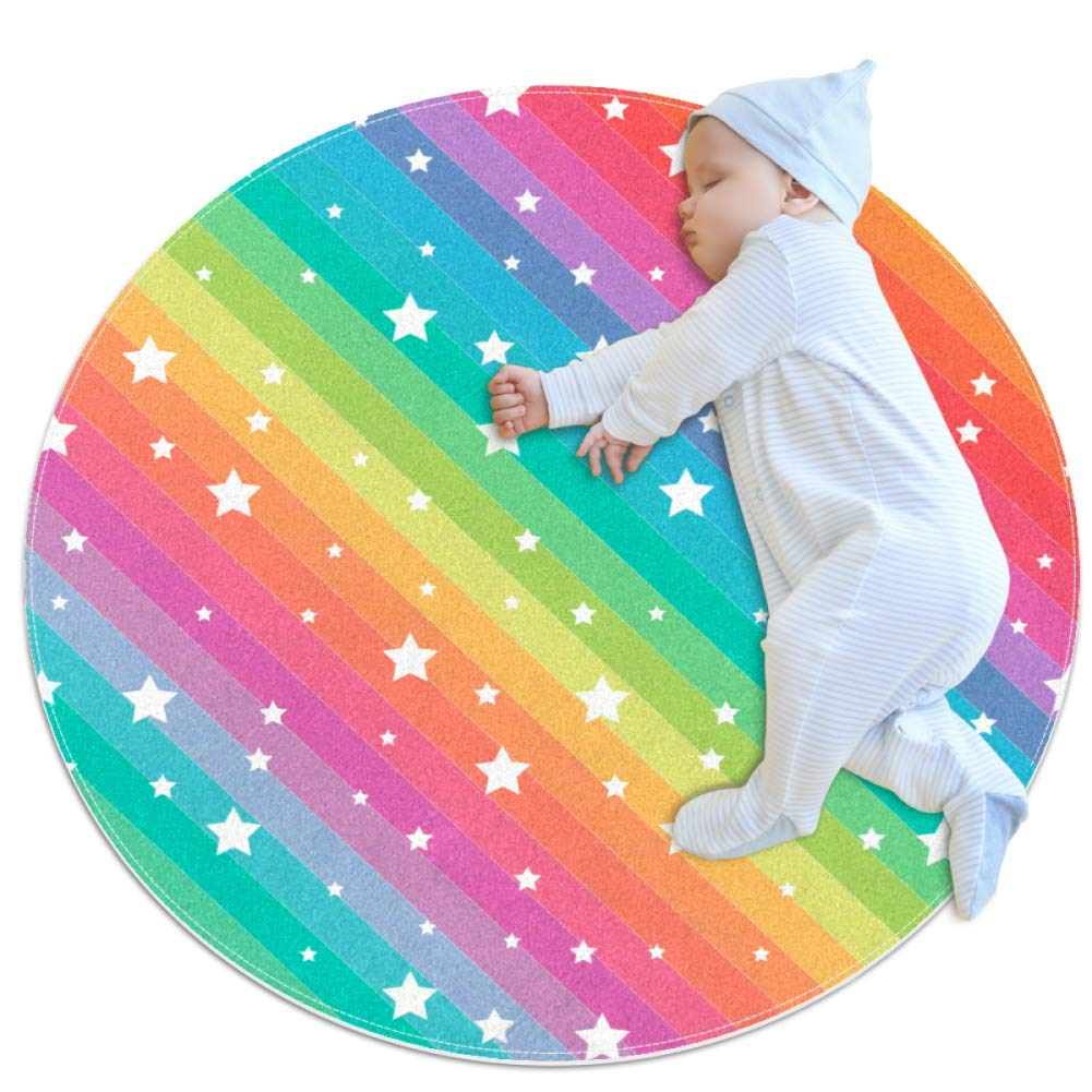 Round Mat Star Rainbow Color Round Rug for Kids Baby Soft Teepee Game Play Mat Bedroom Classroom Nursery Playroom Decor Carpet 27.6x27.6 inches
