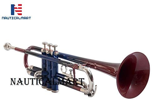 Brass Bb Trumpet with Case, and Valve Oil, Guarantee Top Quality Sound (Red & blue)