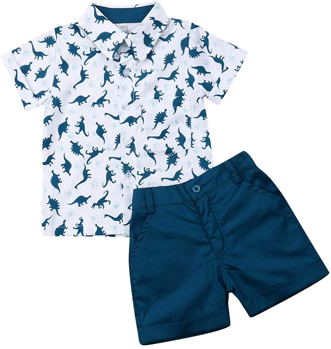 Toddler Baby Boy Shorts Set Short Sleeve Stripe Print Button Down Shirt Tops+Casual Solid Shorts 2 Pcs Summer Outfits