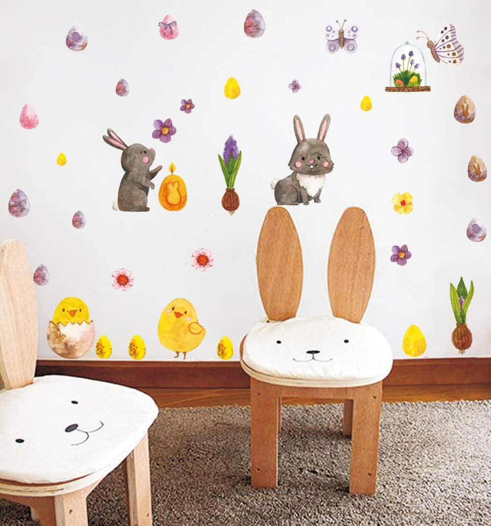 Easter Bunny Eggs Wall Decal Easter Sticker with Rabbit Eggs Chick Flower Butterfly Sticker, Fairy Garden Wall Decals for Kids Easter Decoration