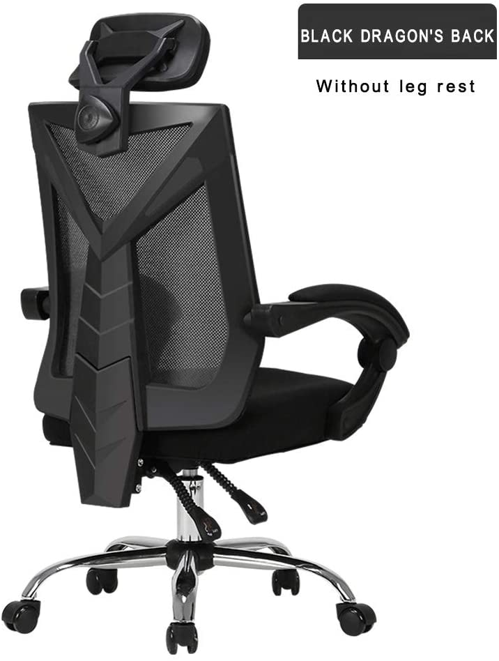 Effortsmy Gaming Chair Massage with Footrest Office Chair with Massage Lumbar Support Swivel Chair with Racing Style Armrest High Back,Black,B