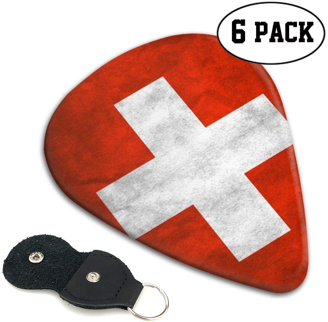Xzyauza Swiss Flag 6 Pack Celluloid Guitar Picks Mandolin,and Bass 0.46mm, 0.71mm, 0.96mm Optional