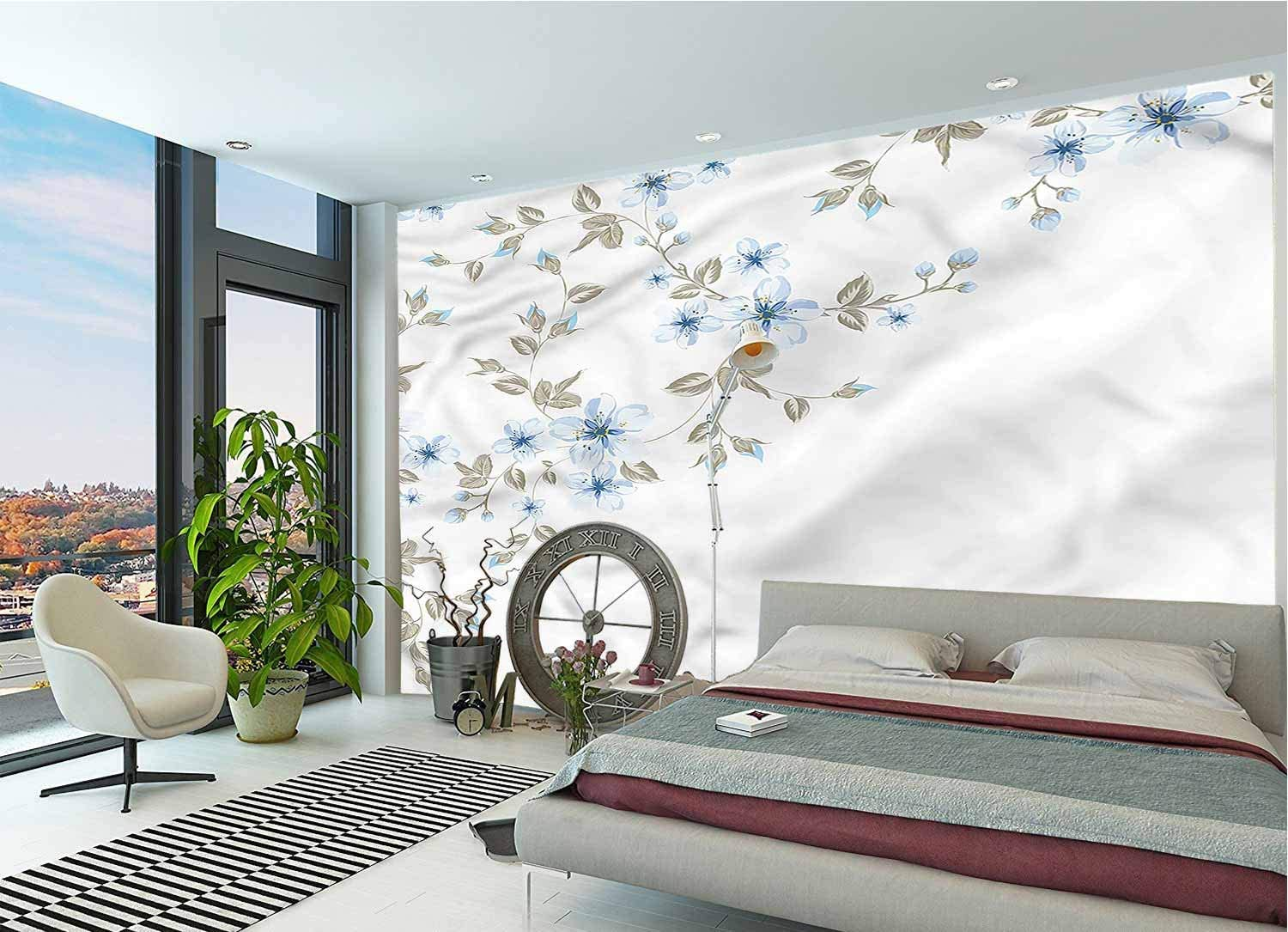 LCGGDB Pale Blue Large Wall Mural,Japanese Sakura Cherry Removable Large Sticker Foil Wall Decor for Office Kids Bedroom Nursery Family Decor-118x83 Inch