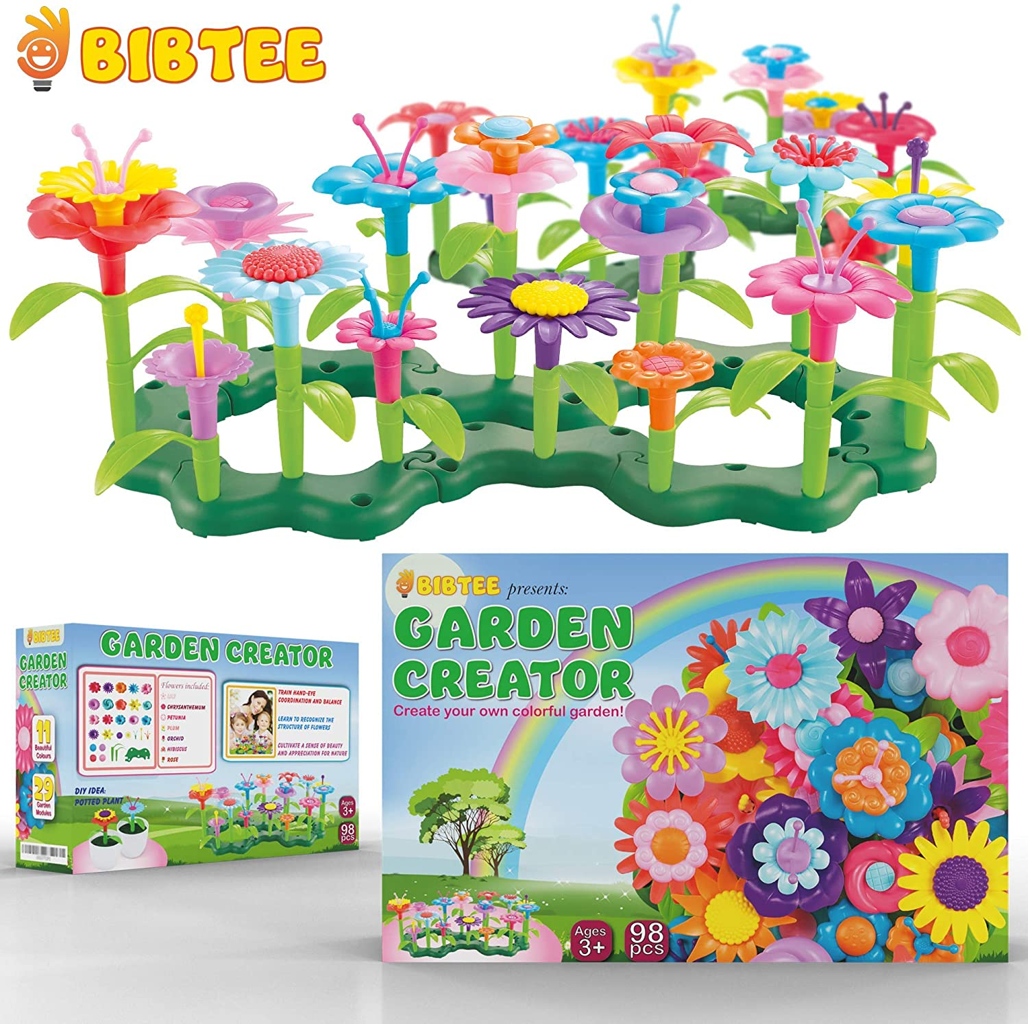 B Flower Garden Building Toys - Stackable Flower Building Toy Set - Fun Activity for Kids to Build a Garden - Stimulate The Imagination with This Pretend Kids Gardening Set - for Ages 3 to 8