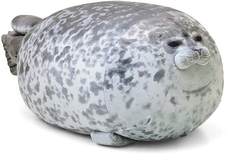 Aoligay Chubby Blob Seal Pillow Soft Fat Hugginchesg Pillow Stuffed Cotton Animal Seal Plush Toy Throw Pillows Cuddly Gift (13 inches)