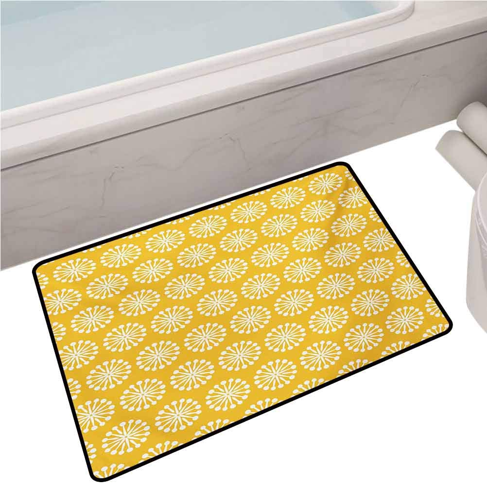 Home Entrance Mats Monochrome Ornament Pattern Abstract Dandelion Blossoms Shabby Colors,24