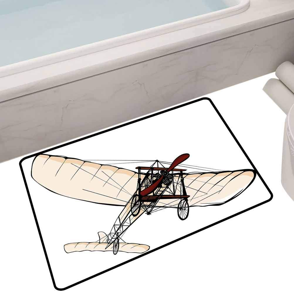 Soft Carpet Entrance Mat Old Fashioned Plane Engine Flight Illustration,35