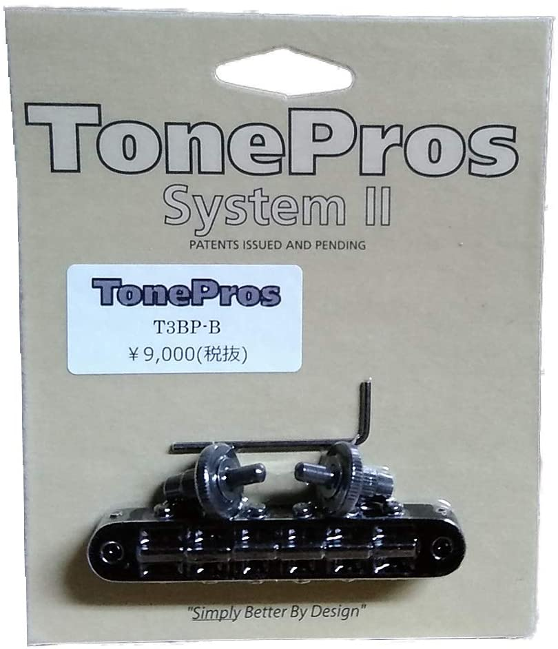 TonePros T3BP Locking Nashville Tuneomatic Guitar Bridge, Notched Saddles, Black Finish