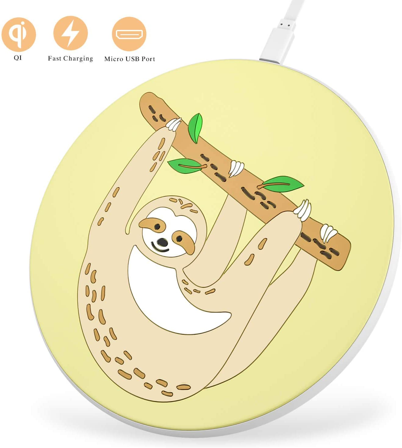 Beanlieve Sloth Wireless Charger Qi-Certified - 10W Wireless Charger for Samsung Galaxy S10/S10 Plus/S9/S9 Plus,7.5W Wireless Charging pad for iPhone 11/11 Pro/11 Pro Max/XS MAX/XR/XS.(No AC Adapter)