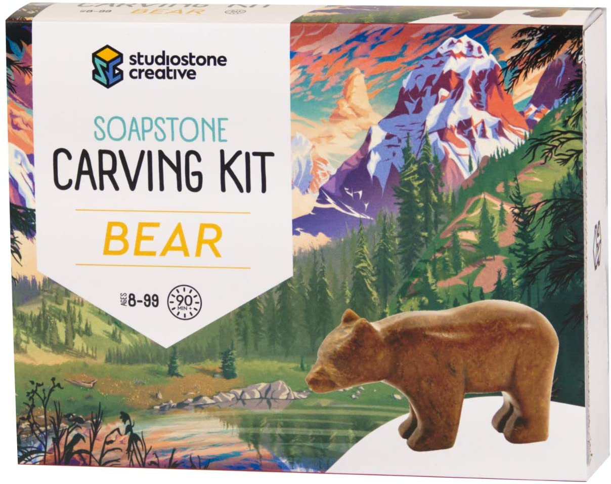 Bear Soapstone Carving and Whittling - DIY Arts and Craft Kit. All Kid-Safe Tools and Materials Included. for 8 to 99+ Years.
