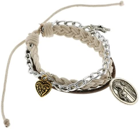 White Leather Braided Bracelet with St. Benedict Charm - Adjustable Size, Sliding Tie Knot Closure