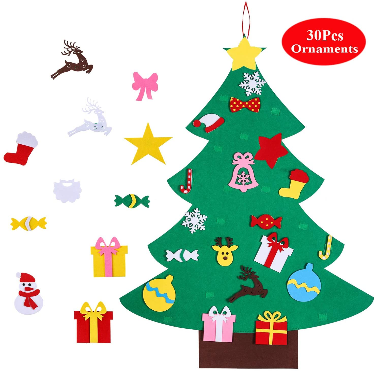 Antner 3.25ft Felt Christmas Tree with 30pcs Xmas Ornaments DIY Tree Decorative Accessories Christmas Home Door Wall Hanging Decorations Christmas Decor