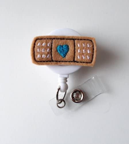 Bandage Blue - Retractable ID Badge Reel - MD Badge Holder - Cute Badge Reel - Nurse Badge Holder - Nursing Badge Clip - Felt Badge