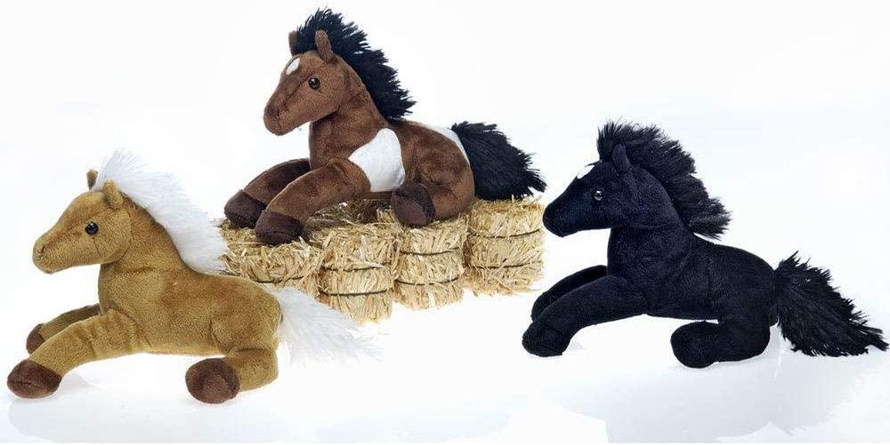 Horses Laydown (9 inch) Stuffed Animal Plush Toy by FIESTA- Black Only