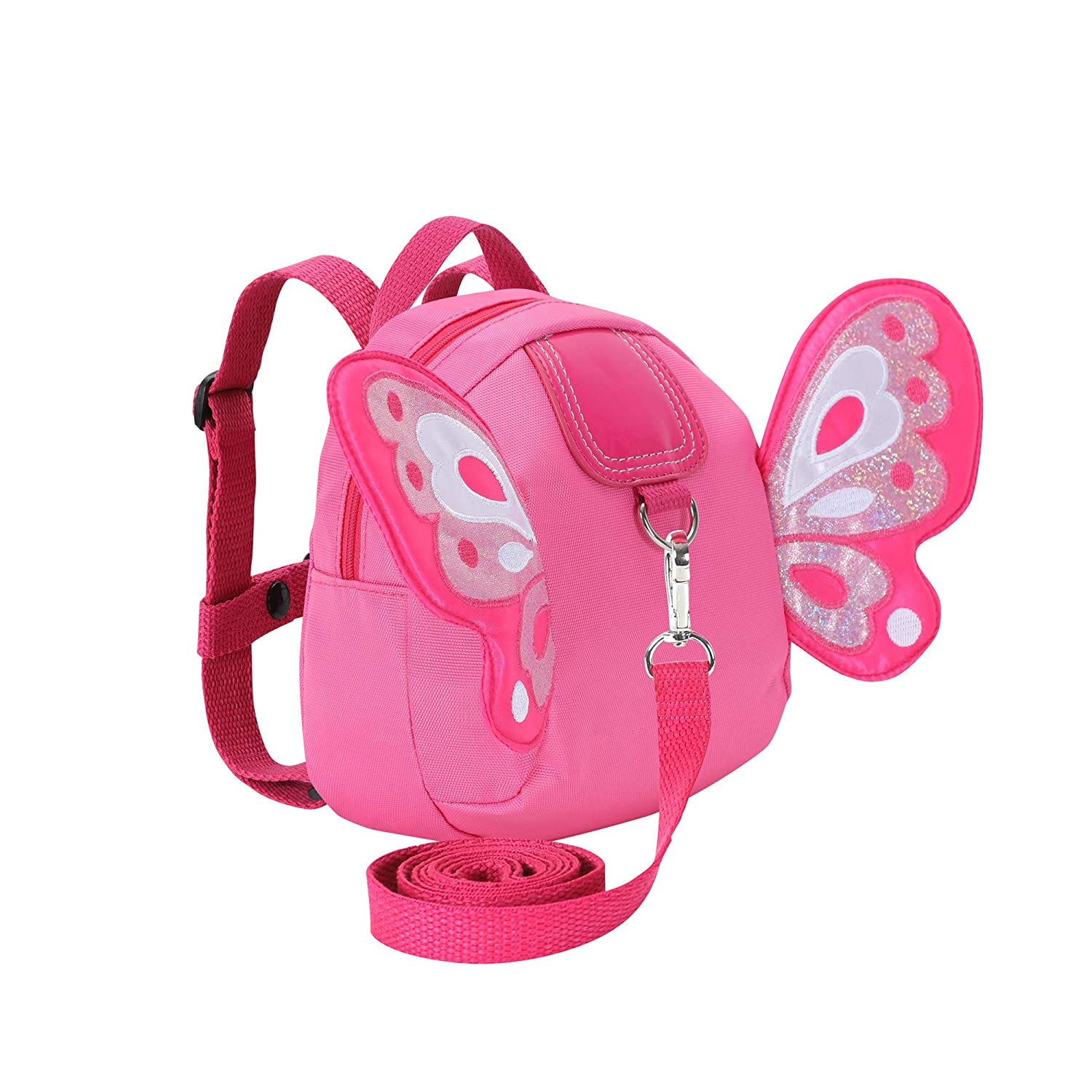 Toddler Walking Safety Backpacks with Leash Kid Butterfly Anti Lost Bags for 1.5 to 3 Years Old Boys Girls (Butterfly Deep Pink)