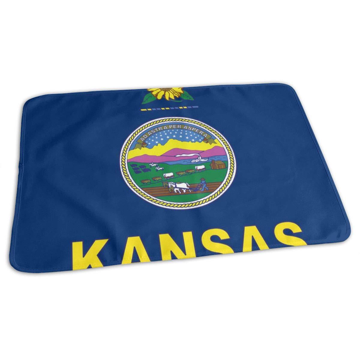 Kansas State Flag Baby Changing Pad Waterproof Portable Changing Pad Home Travel 27.5¡±x19.7¡±