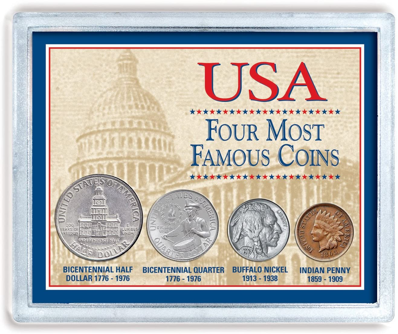 USA Four Most Famous Coins | Genuine Coin Set Buffalo Nickel, Indian Head Cent, Bicentennial Half Dollar and Quarter | Certificate of Authenticity – American Coin Treasures