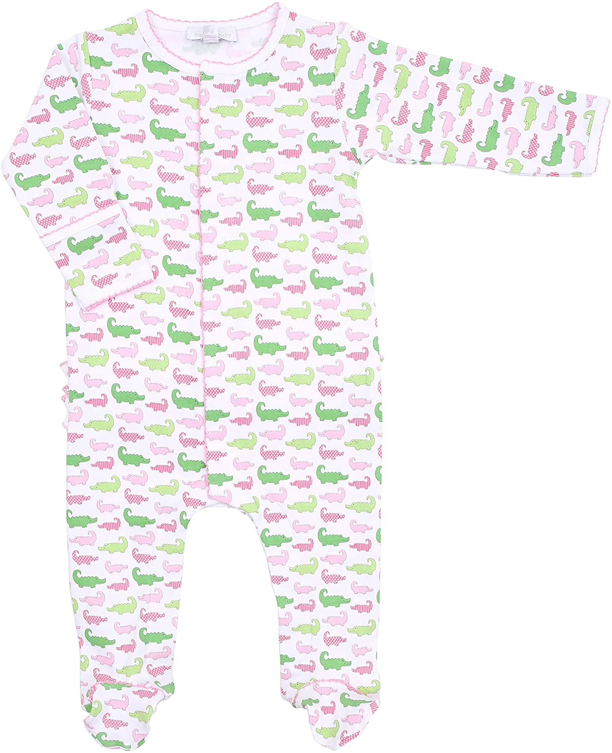 Magnolia Baby Baby Girl Oh Snap! Printed Ruffle Footie Pink