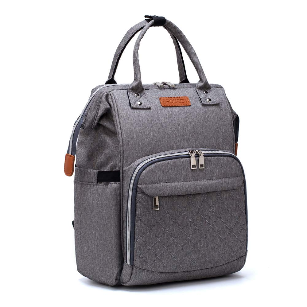 LEQUEEN Diaper Bag Backpack Multi-Function Nappy Bags for Mom & Dad (gray)