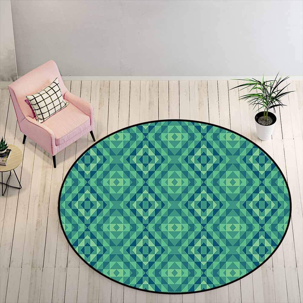 Kids Rugs for Bedroom Girls Geometric Bath Mat Design with Squares Triangles and Lines Illustration Retro Colors, 5 ft Diameter, Sea Green Dark Blue