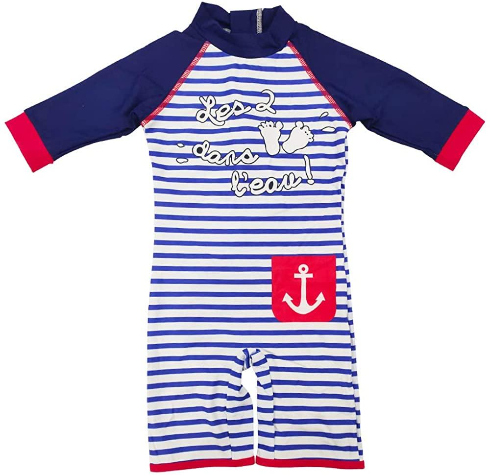 Baby Boy One-Piece UPF50+ Sunsuit Infant UV Sun Protection Kids 3/4 Sleeve Zipper Swimsuit